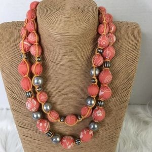 Coldwater Creek Layered Fabric Ball Necklace Peach